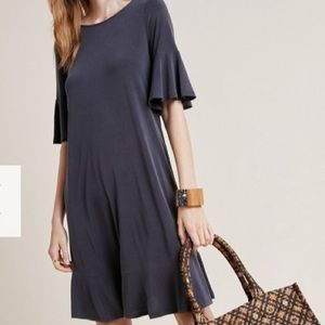 Navy blue A line dress with ruffled short sleeves